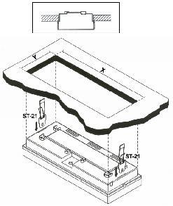 Рис. 2а. Частичная установка в потолок. X = 320 мм; Y = 118 мм.