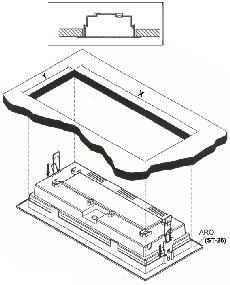 Рис. 2б. Полная установка в потолок. X = 346 мм; Y = 138 мм.