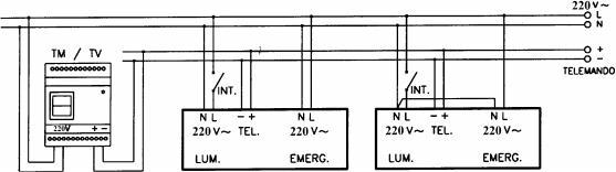 Рис. I - Схема подключения светильников с люминесцентными лампами комбинированного типа работы