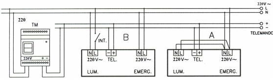 Рис. II - Схема подключения светильников с люминесцентными лампами постоянного типа работы