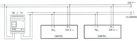 Рис. III - Схема подключения светильников с люминесцентными лампами непостоянного действия