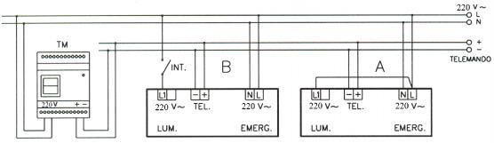 Рис. V - Схема подключения LED светильников постоянного/непостоянного типа работы