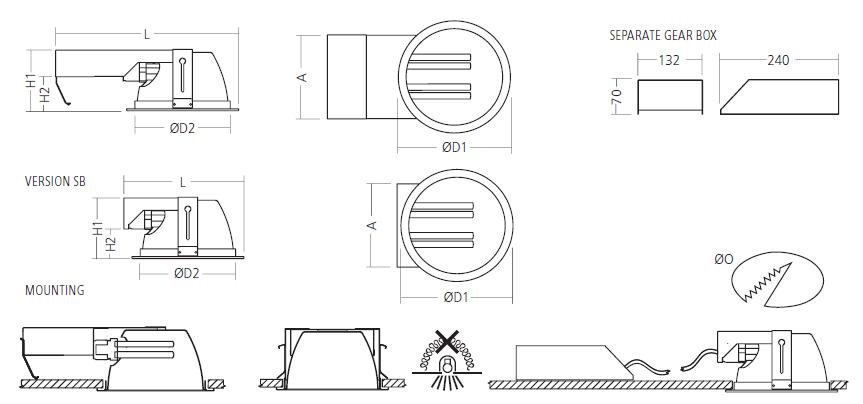 Схема габаритных и установочных размеров DOWNLIGHT