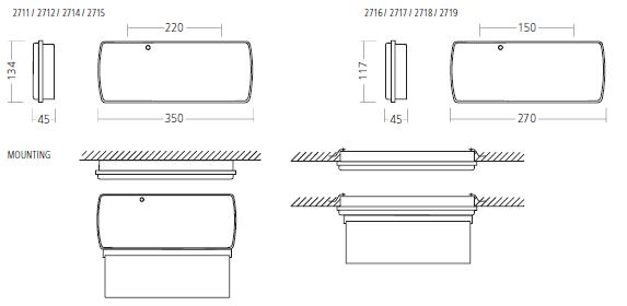Габаритные размеры и способ монтажа  аварийных светильников 2710