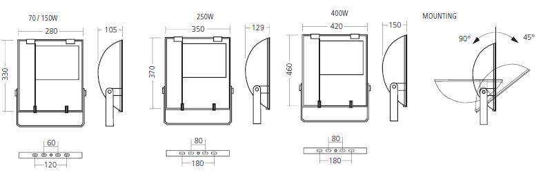 Габаритные размеры и способ монтажа прожекторов IP65 UX-FLOODLIGHT CAPRICORN