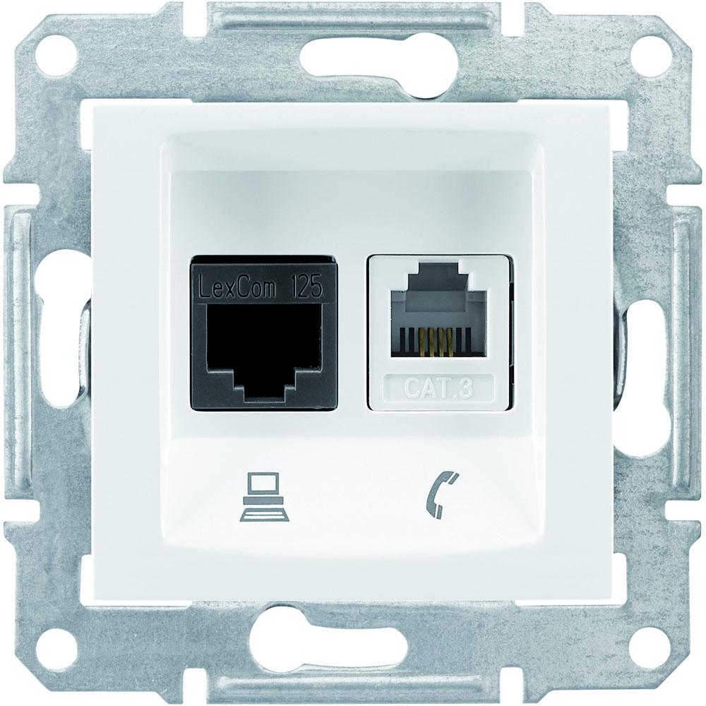 d900f4ba364f Розетка телефон+компьютер RJ11+RJ45 кат.5e UTP (белый) SEDNA Schneider