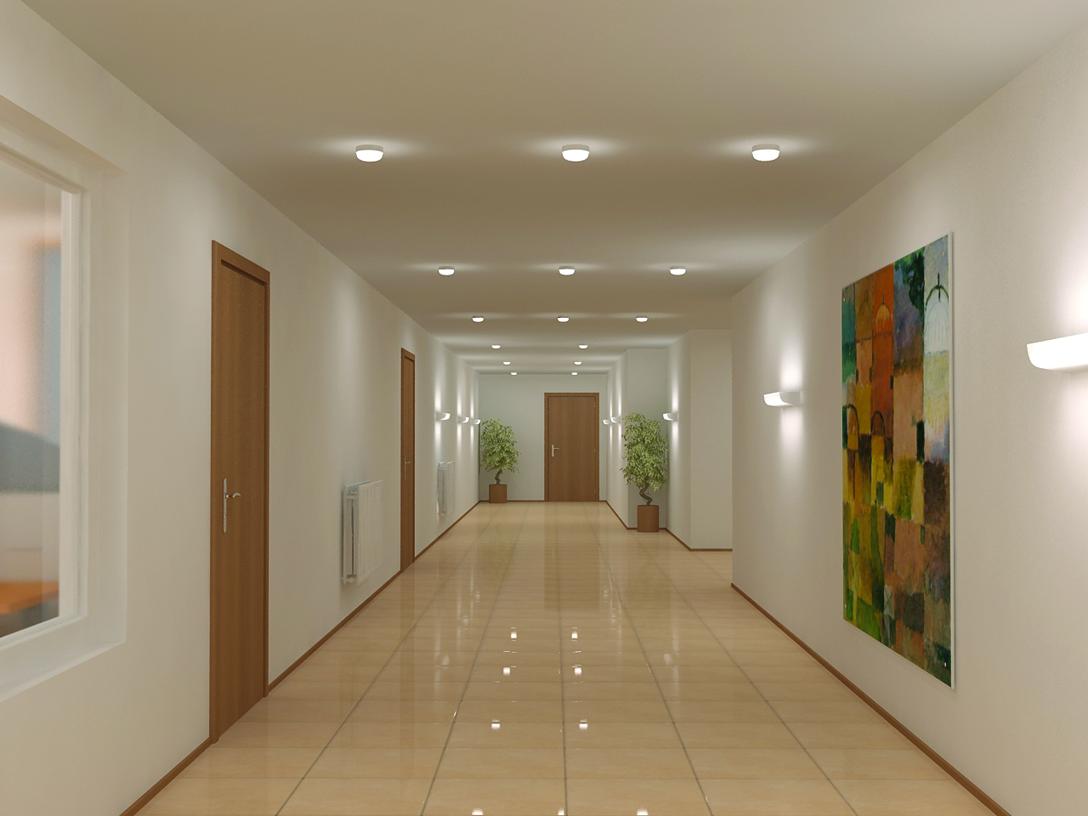 Фотграфия использования светодиодных светильников с плафоном TN LED в инерьре помещения коридора офиса : электромаркет интернет-магазин ELMAR Украина
