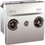 Розетка TV/FM-SAT индивидуальная 10-2400 MHZ (2 модуля Алюминий, Unica) MGU3.454.30  : интернет-магазин Elmar Украина