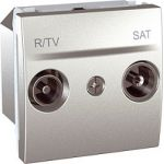 TV/FM-SAT проходная (2 модуля Алюминий, Unica) MGU3.456.30  : интернет-магазин Elmar Украина