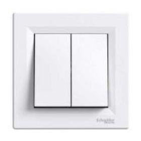 Выключатель двухклавишный Asfora (белый) : интернет-магазин Elmar Украина
