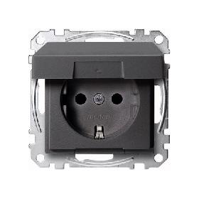 Панель для розетки силовой с з/к и крышкой IP44, Merten System M (антрацит) Schneider Electric : интернет-магазин Elmar Украина