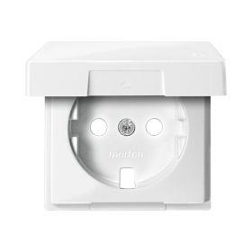 Лицевая панель розетки с з/к и крышкой белый блеск System M : интернет-магазин Elmar Украина