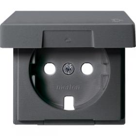 Лицевая панель розетки с з/к и крышкой антрацит System M : интернет-магазин Elmar Украина