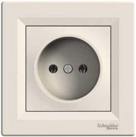 Розетка электрическая без заземления (кремовый) Asfora : інтернет-магазин Elmar Україна