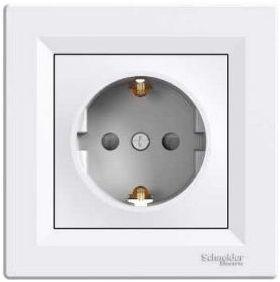 Розетка электрическая с заземлением EPH2900121 (белый) Asfora : інтернет-магазин Elmar Україна