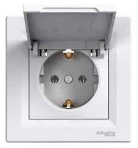Розетка электрическая с заземлением с крышкой(белый) Asfora : интернет-магазин Elmar Украина